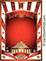Christmas circus vintage poster