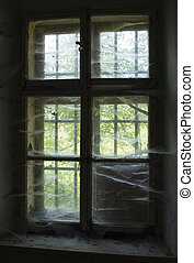 Lonley view - Abandoned old window with spider's nets