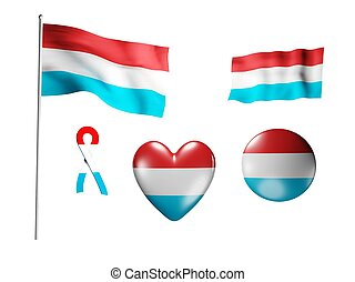 The Luxembourg flag - set of icons and flags