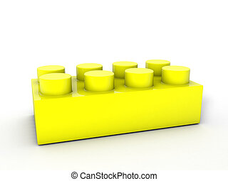 lego block yellow - Yellow lego block on a white backgroind.
