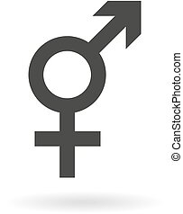 Dark grey icon for intersex on whit - Isolated dark grey...