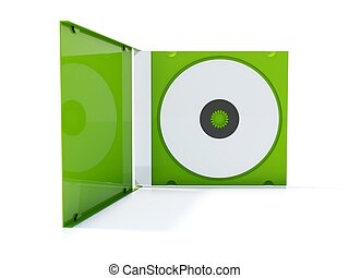 Green cd box isolated on white