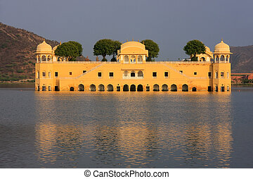 Jal Mahal and Man Sagar Lake in Jaipur, Rajasthan, India....