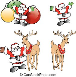 Christmas Santa with Reindeer and Tree Ornaments -...