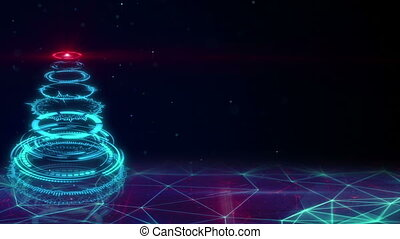 blue sci-fi christmas tree loopable animation