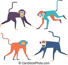 four monkeys icons