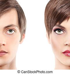 mujer, hombre, concepto, mitad, retrato,  androgyny