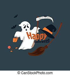 Fun for Halloween flat design vector illustration