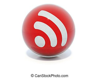 Red glossy RSS icon in glass ball