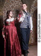 Attractive couple in retro dresses dance - Beautiful couple...