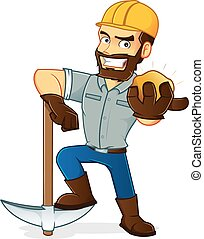 Miner - Cartoon illustration of a Miner