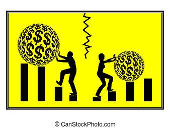 Career Disparity - Concept sign of Gender discrimination at...