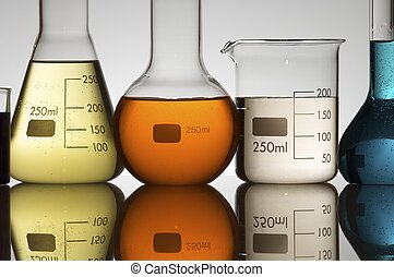 laboratory equipment - lab equipment with colored liquid