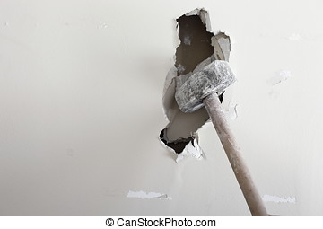 sledgehammer hit the wall, photographed in daylight
