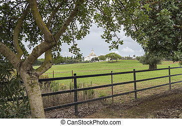 House in the country, farmland, landscape