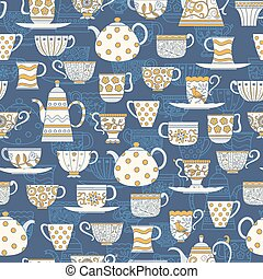 Seamless background with teacups and teapots