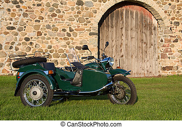 Sidecar Motorcycle - with Rustic Background - Sidecar...