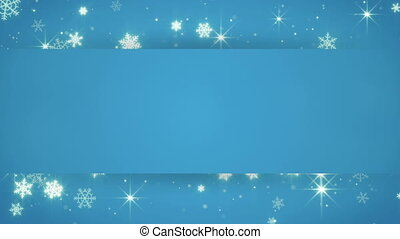 blue banner and christmas snowfall . Computer generated...