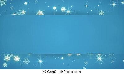 blue banner and christmas snowfall