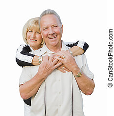 Happy Attractive Senior Couple Hugging on White Background