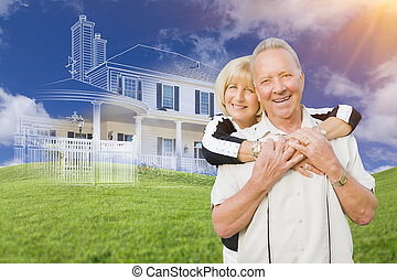 Senior Couple In Front of Ghosted House Drawing on Grass