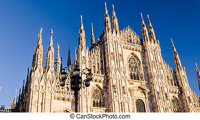 milans cathedral - front views or the cathedral of milan,...