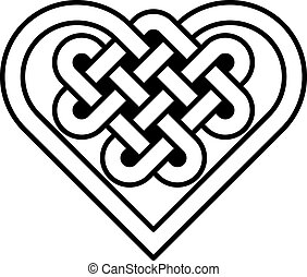 Celtic heart shape knot vector illustration black and white,...