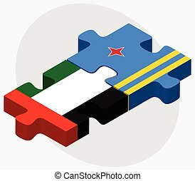 United Arab Emirates and Aruba Flags in puzzle isolated on...