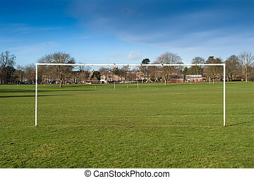 Park football in England - Typical park football pitch in...