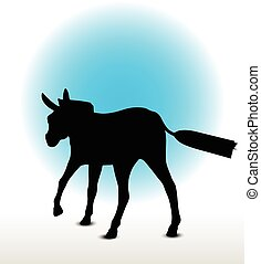 donkey silhouette - Vector Image, donkey silhouette, in...
