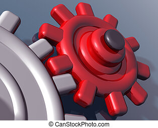 Brightly colored interlocking gears