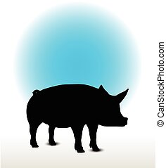 pig silhouette - Vector Image, pig silhouette, in Curl Tail...