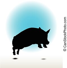 pig silhouette - Vector Image, pig silhouette, in Jump pose,...