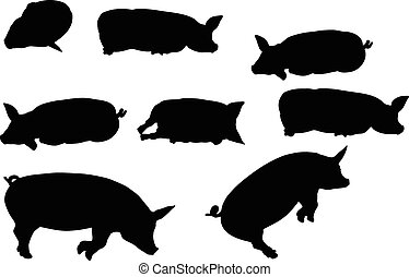 pig silhouette - Vector Image, pig silhouette, in Lay flat...
