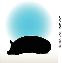 pig silhouette - Vector Image, pig silhouette, in Lay pose,...