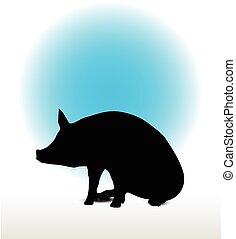 pig silhouette - Vector Image, pig silhouette, in a seated...