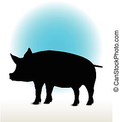pig silhouette - Vector Image, pig silhouette, in a standing...