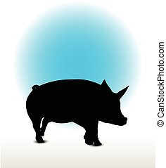 pig silhouette - Vector Image, pig silhouette, in a trot...