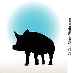 pig silhouette - Vector Image, pig silhouette, in a walking...