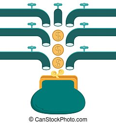 funding, faucet pouring money, dollar coins, wallet or purse