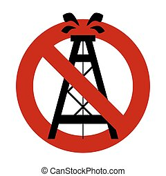 Stop pump, rig oil. It is forbidden to pump oil. Frozen oil. Red forbidden sign.