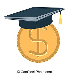 Dollar coin with university hat, Invest in education