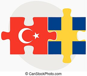 Turkey and Sweden Flags