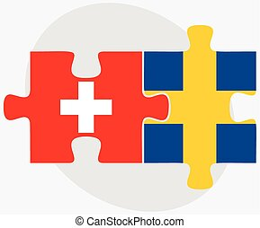 Switzerland and Sweden Flags