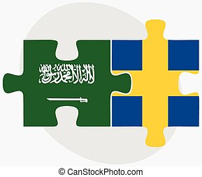 Saudi Arabia and Sweden Flags in puzzle isolated on white...