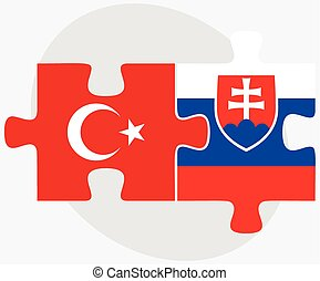 Turkey and Slovakia Flags in puzzle isolated on white...