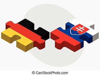 Germany and Slovakia Flags in puzzle isolated on white...