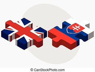 United Kingdom and Slovakia Flags in puzzle isolated on...