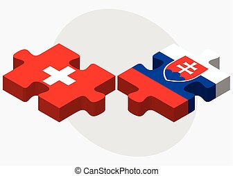Switzerland and Slovakia Flags in puzzle isolated on white...