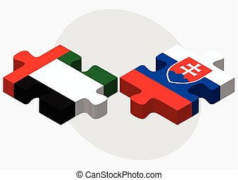 United Arab Emirates and Slovakia Flags in puzzle isolated...